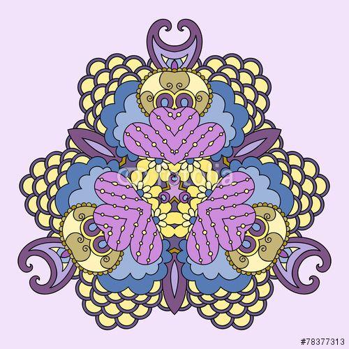 Вектор: Yellow-lilac mandala.
