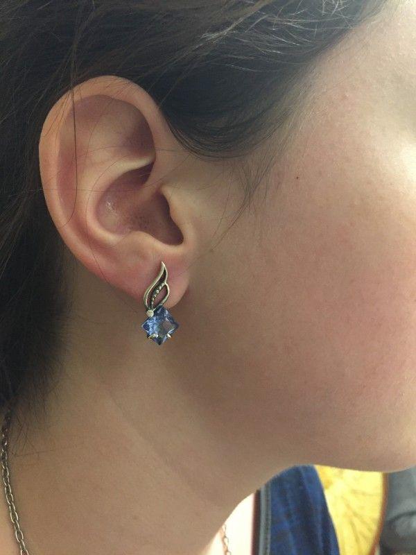 """Anna Jewel: - Отметились также сережки """"Сириус"""" со вставками цвета """"аква"""". Очень нежное украшение. Огромное спасибо атору и исполнителям этой изящной красоты!"""
