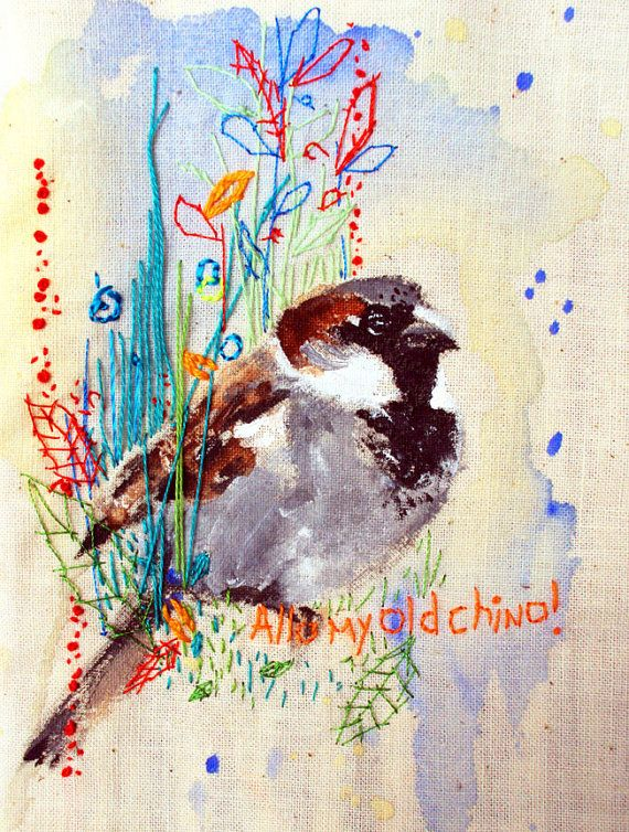 Sparrow art. Embroidered and painted bird. Miniature cushion. Cockney Sparrow by MimiLove on easy