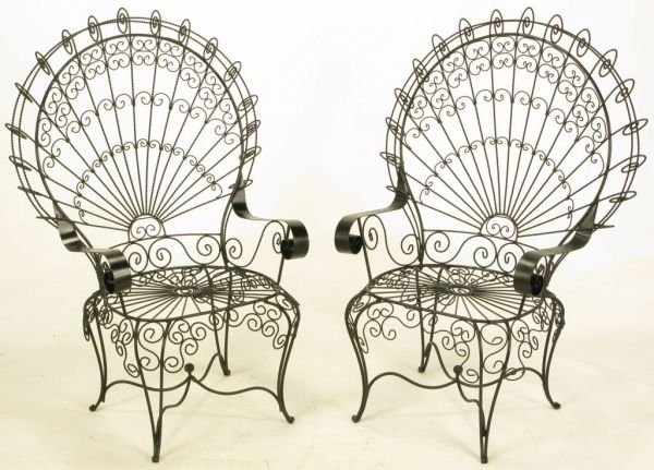 Fanback Iron Chair Pair Black Iron Amp Wire Fanback Garden