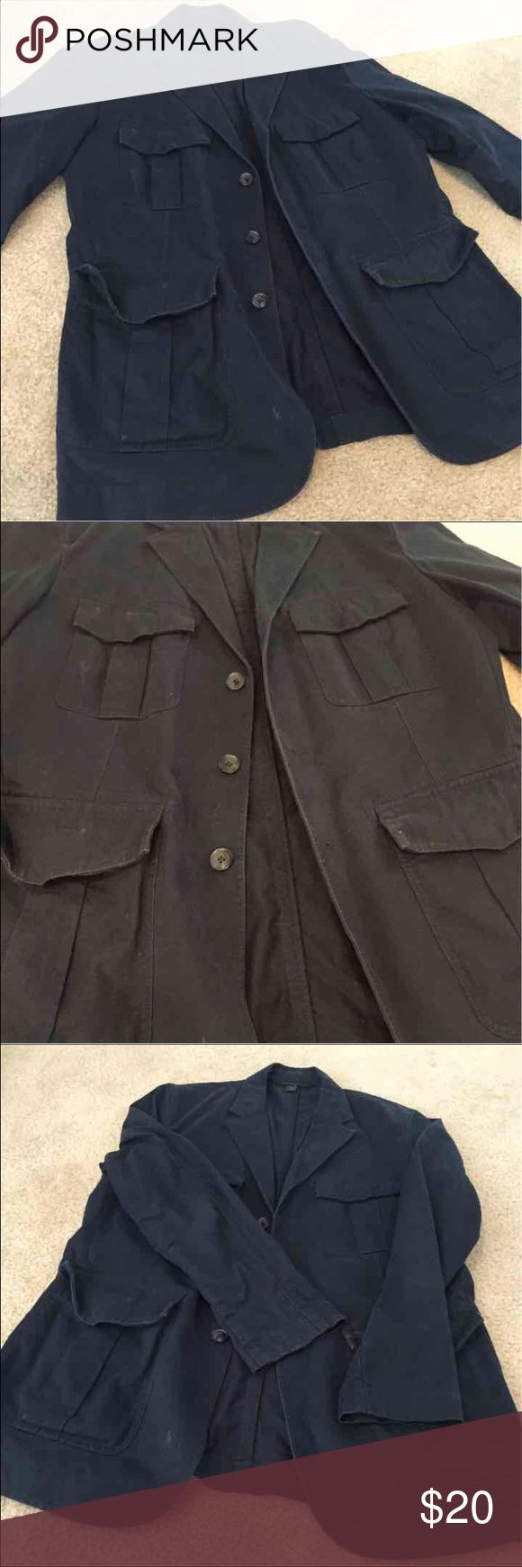 Men's dress coat Navy color. Double breasted blazer. Size says 38R, fits a Medium/Large Express Jackets & Coats Pea Coats