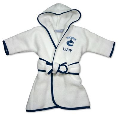 Officially licensed personalized Vancouver Canucks Robe will keep your little NHL fan snuggly warm.  Personalized with baby's name and the Canucks logo.