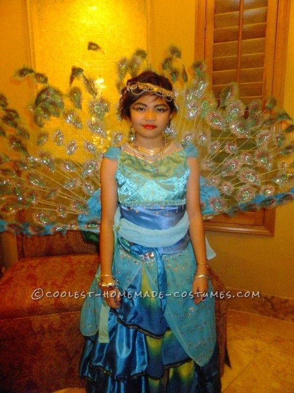 142 best peacock halloween costume ideas images on pinterest creative homemade peacock princess costume for a girl solutioingenieria Image collections