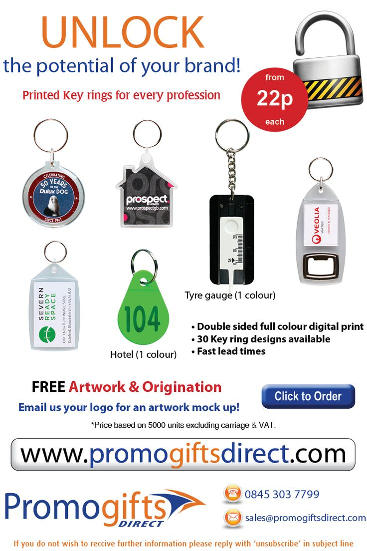 Printed Keyrings for your business - Contact us to order - 0845 303 7799 - sales@promogiftsdirect.com - http://www.promogiftsdirect.com/index.php?go=products=keyring=o===