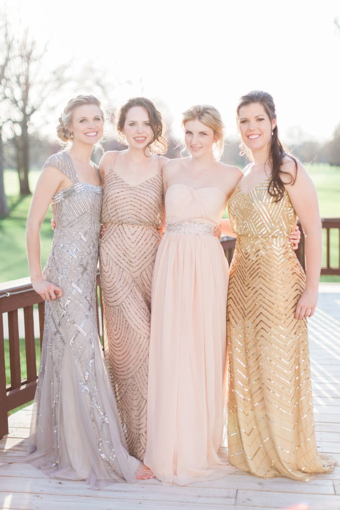 stunning metallic bridesmaids   Cory & Jackie Wedding Photographers   Glamour & Grace