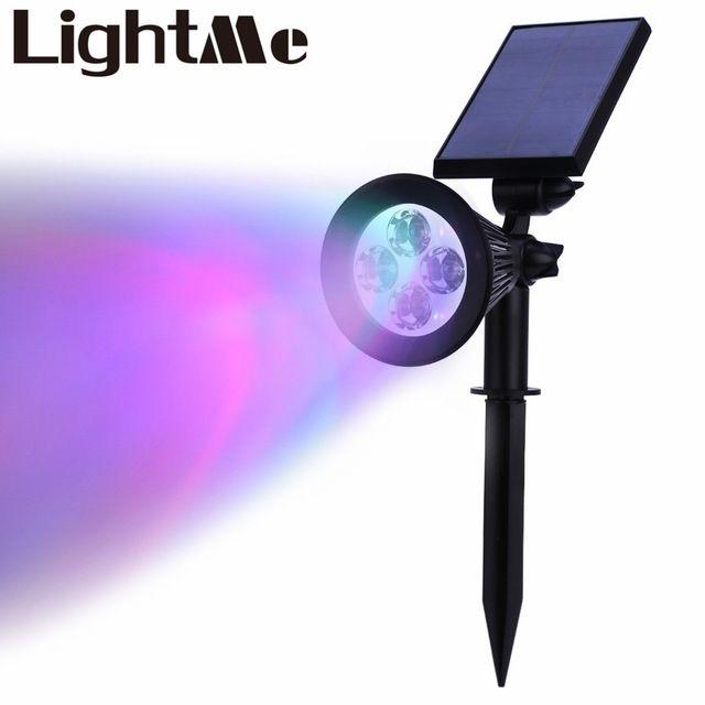 2016 Nueva Venta Caliente de Alta Calidad 4 Led RGB Luz 200 Lúmenes Recargable centro de Atención Con Energía Solar Al Aire Libre Iluminación Del Paisaje