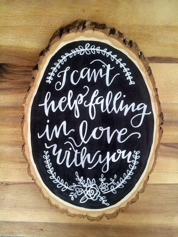 rustic vintage calligraphy wedding first dance song / love quote anniversary gift wood slice hanging sign.