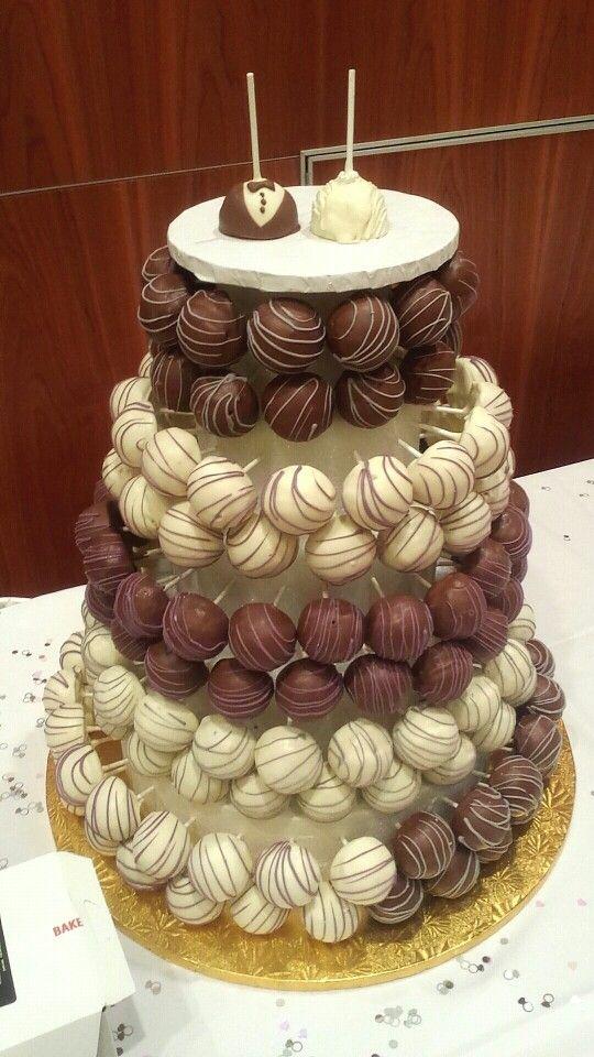 Chocolate/Vanilla cake pop wedding cake