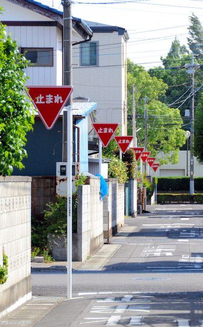 一時停止を指示する「止まれ」の道路標識が連なる現場=大泉町日の出
