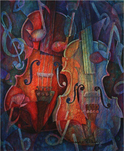 New!! hand painted Musical Instruments oil painting on canvas,Noteworthy - A Viola Duo canvas painting