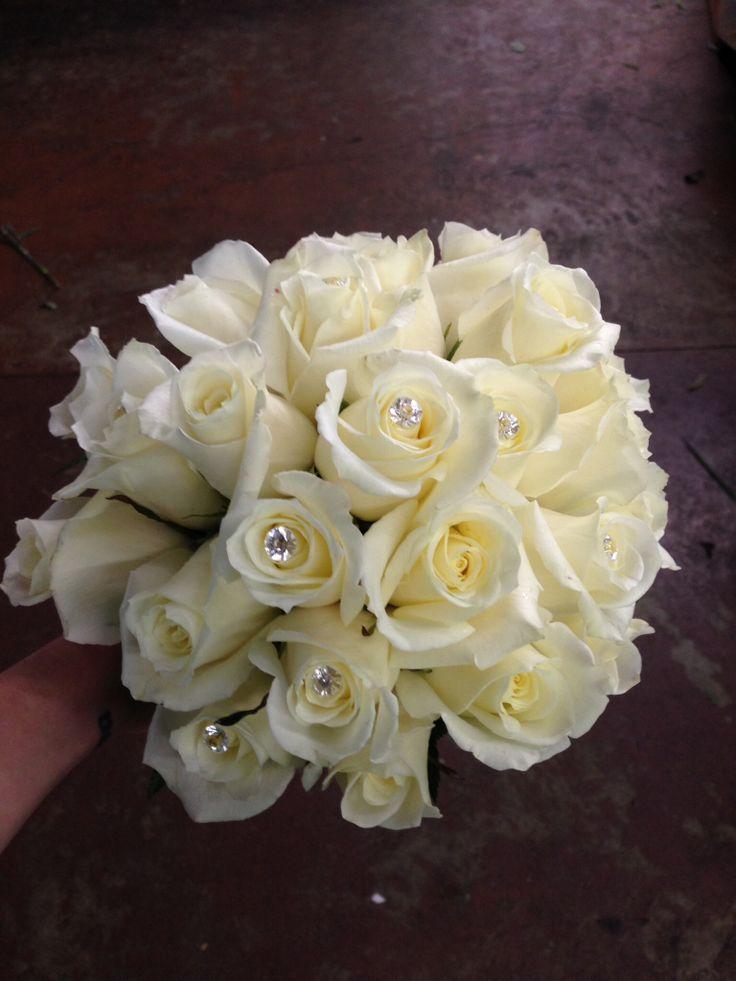 White rose bridal bouquet classic diamond accents bling elegant simple wedding flowers