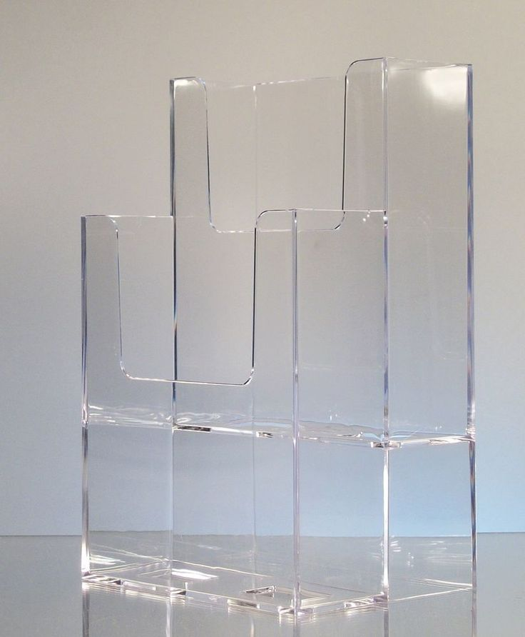Clear plastic tri fold brochure holder tiered with 2