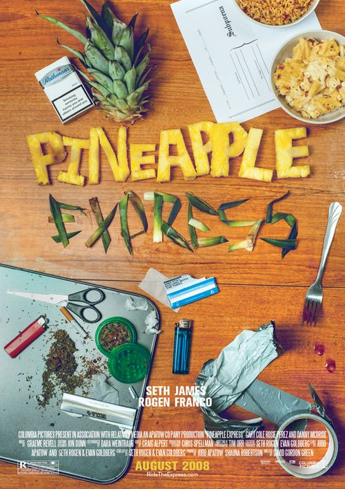 Pineapple Express (2008) (R) 1hr51min  Stars: James Franco, Seth Rogen, Danny McBride, Craig Robinson  Director: David Gordon Green  Writers: Evan Goldberg, Seth Rogen Story: A court-process dealer and his marijuana dealer run away from hitmen and police after experiencing a murder that took place on a competitor  Critics Praise: 68%  Audience Praise: 73%
