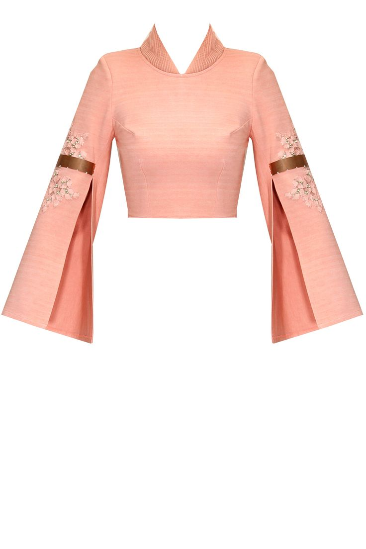 Pink embroidered double sleeves crop top available only at Pernia's Pop-Up Shop.
