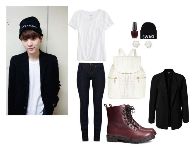 BTS Twitter Update Suga Inspired Outfit by smokingcrayonz on Polyvore featuring American Eagle Outfitters, ONLY, J Brand, H&M, River Island, Marc by Marc Jacobs, Club L and OPI