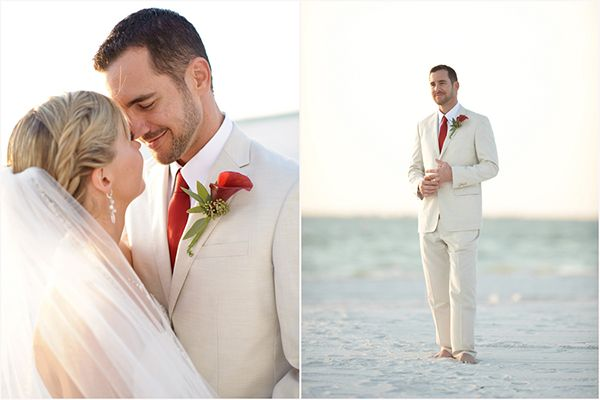 bride and groom share an intimate moment, red calla lily boutonniere, classic men's attire, romantic Christmas beach wedding
