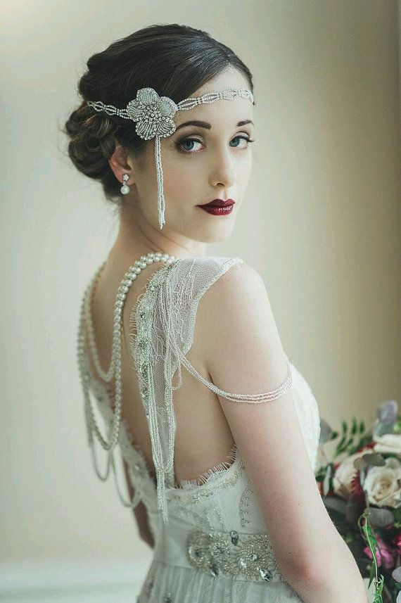 AD: Wedding Inspiration: F. Scott Fitzgerald himself would swoon over this Gatsby-inspired Art-Deco wedding headpiece. Channel your inner Daisy Buchanan with this incredibly delicious bridal head band that just oozes Old Hollywood Deco glam!