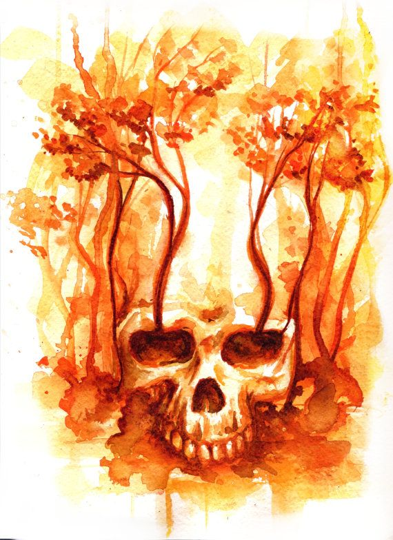 orange autumn skull watercolor by AkiMao on Etsy, $39.00
