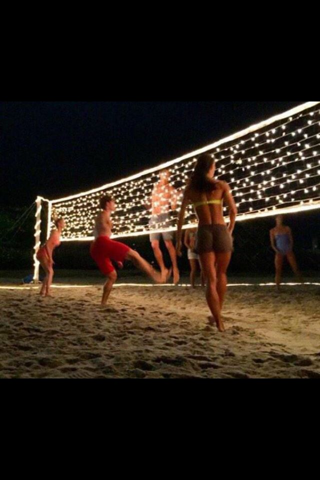 If Your Party Goes Into The Night And Youve Got Access To A Volleyball Net String Christmas Lights Through For Fun Time