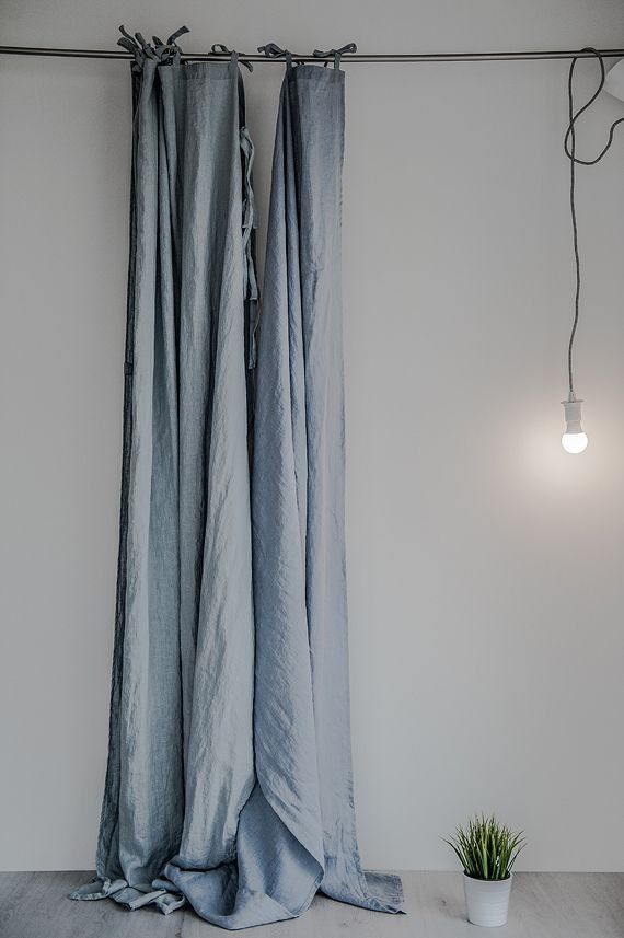 Handmade ice blue/silver grey (on the left) or bluish grey (on the right) linen curtains.  The listing is for one panel of 138 cm. DESCRIPTION: