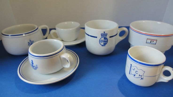 Ocean Liner Collection Lot of Ship's Cups & Saucers  Various Lines
