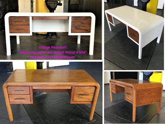 Solid Wood Parquet Waterfall Desk   Example of High Gloss