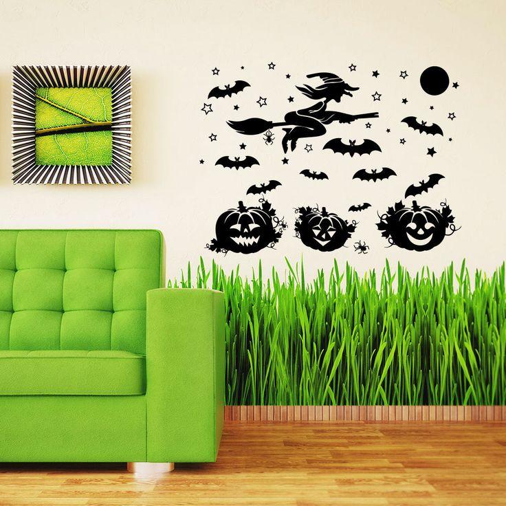 Halloween Wall Decal Witch Pumpkin Home Decoration Window Holiday Decor MR804 #Stickalz