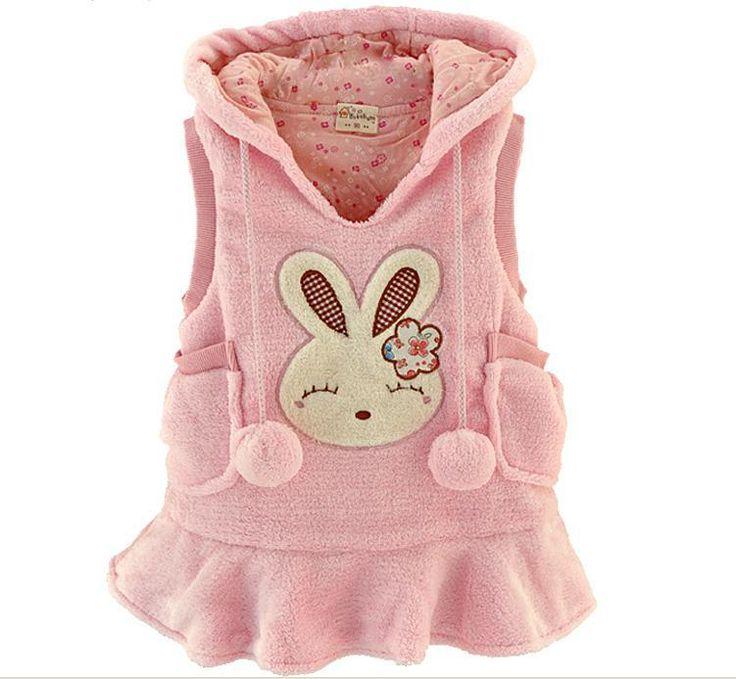 Осень зима дети жилет ватки коралла с длинным стиль девочка толстовки пальто мультфильм кролик дети жилет пальто платье QS225(China (Mainland))