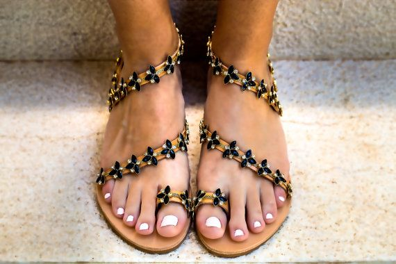 Genuine leather sandals with black opal & transparent crystals