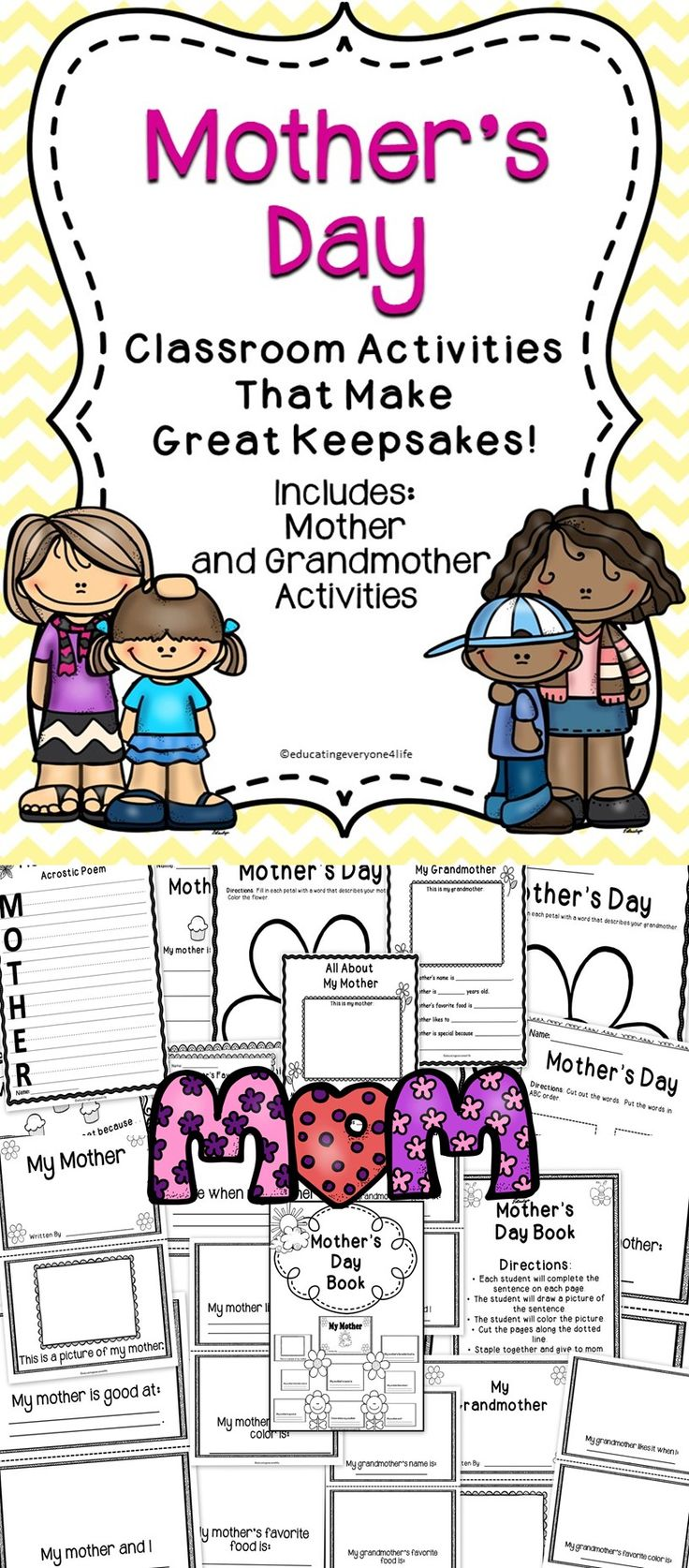Mother's Day Activities For Children - A great collection of Mother's Day activities to use with kids.  These activities make great keepsakes!