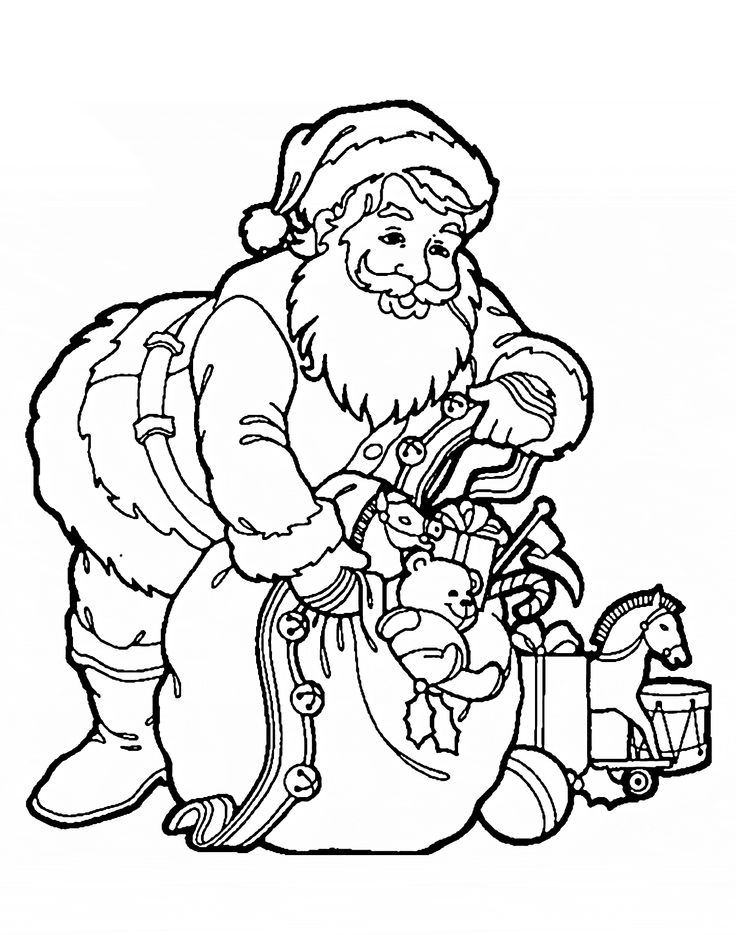Santa Claus With Gifts Coloring Pages For Kids Printable Free
