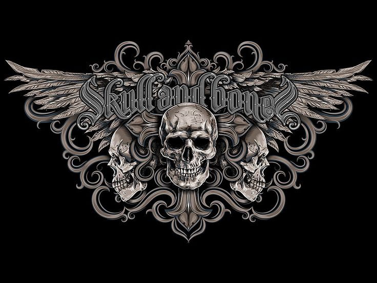 """«Skull and bones» Vector illustration. Artwork corporate print brand """"skull and bones"""". Illustration of the print for t-shirts. The client """"Reya"""" studio. The work is done in programs Adobe Illustrator."""