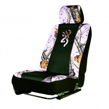 Camo Low Back Truck Seat Cover Pink Realtree with Browning Buckmark