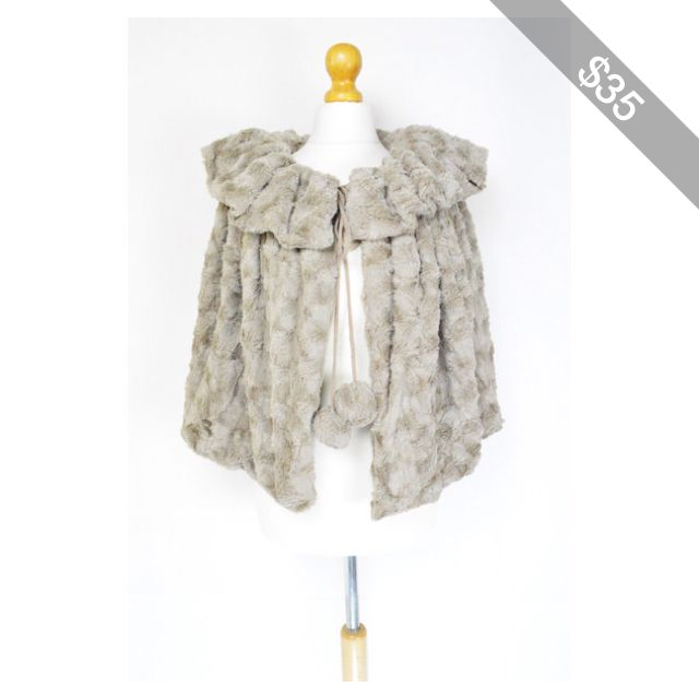 Khaki Faux Fur Pom Pom Cape Bolero Shrug Jacket Fleece Teddy Bear Soft Evening Party Ladies F