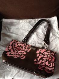 Available @ TrendTrunk.com Karen Wilson Brown and Pink Floral Purse Bags. By Karen Wilson Brown and Pink Floral Purse. Only $38.00!