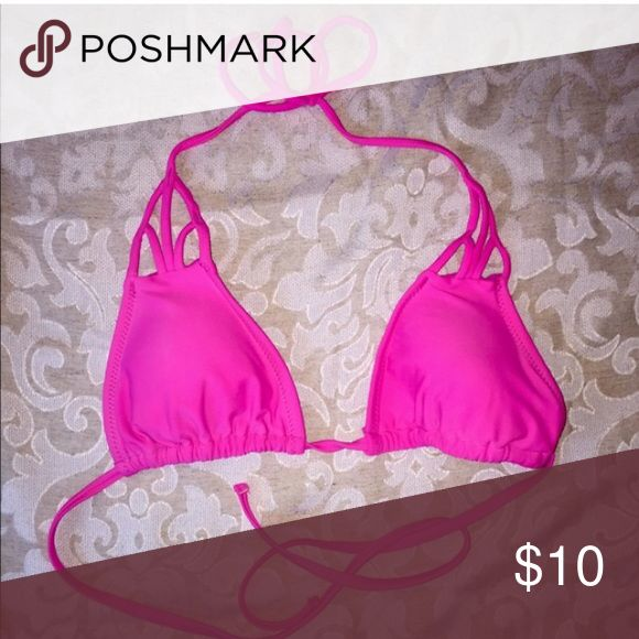 Hot pink triangle bikini top Reposh! Too big for me but in EUC and a beautiful color. Looking to sell or trade for same exact top in size small. Forever 21 Swim Bikinis