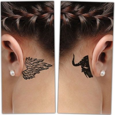 Woman with Behind-the-ear Angel and Demon Tattoo