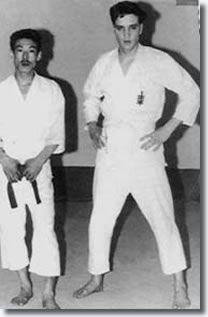Elvis was first exposed to Karate while in the Army (1958). Shown here in Paris.