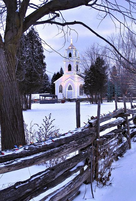 Fresh snow in Upper Canada Village, Morrisburg Ontario.... gotta make it a point to get there this year for the Festival of Lights!