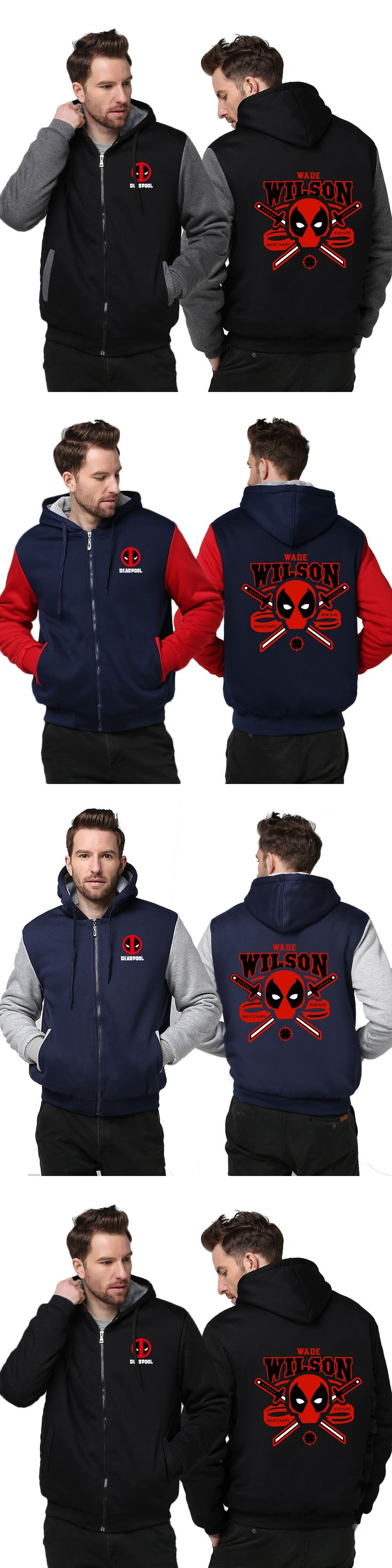 New Deadpool Super Warm Thicken Fleece Zip Up Hoodie Men's Coat Hoodies Sweaterwear cotton NEW Red USA Size Outwear