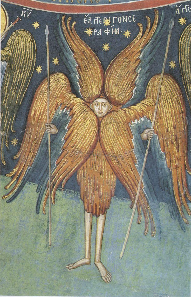Fresco at the Holy Monastery of Dionysiou (c. 1545), Mt. Athos, Greece / Six-winged Seraphim; Greece .; XVI century