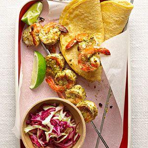 Grilled Cilantro and Pistachio Pesto Shrimp Skewers: Shrimp Skewers, Summer Dinners Recipe, Pesto Shrimp, Fresh Summer, Cilantro Shrimp, Summer Meals, Grilled Cilantro, Pistachios Pesto, Easy Summer