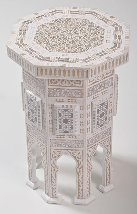 Zenza White Inlaid Moroccan Table. Great idea to paint with stencils too.  White base with opalescent/bone colored details