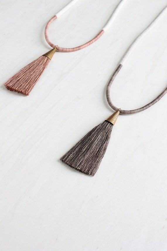 a well-loved favourite, this textural statement necklace features a natural linen rope with hand wrapped persimmon-dyed cotton detail and hammered brass persimmon-dyed silk tassel pendant. available in mossy oak or red earth  made to order in our small-town Ontario studio and ships within approximately 7-14 business days.   COLOURS | hand dyeing with persimmon tannin (Kakishibu) is a Japanese technique that produces a range of rich wood-toned hues. the DEMETER necklace is available in two…