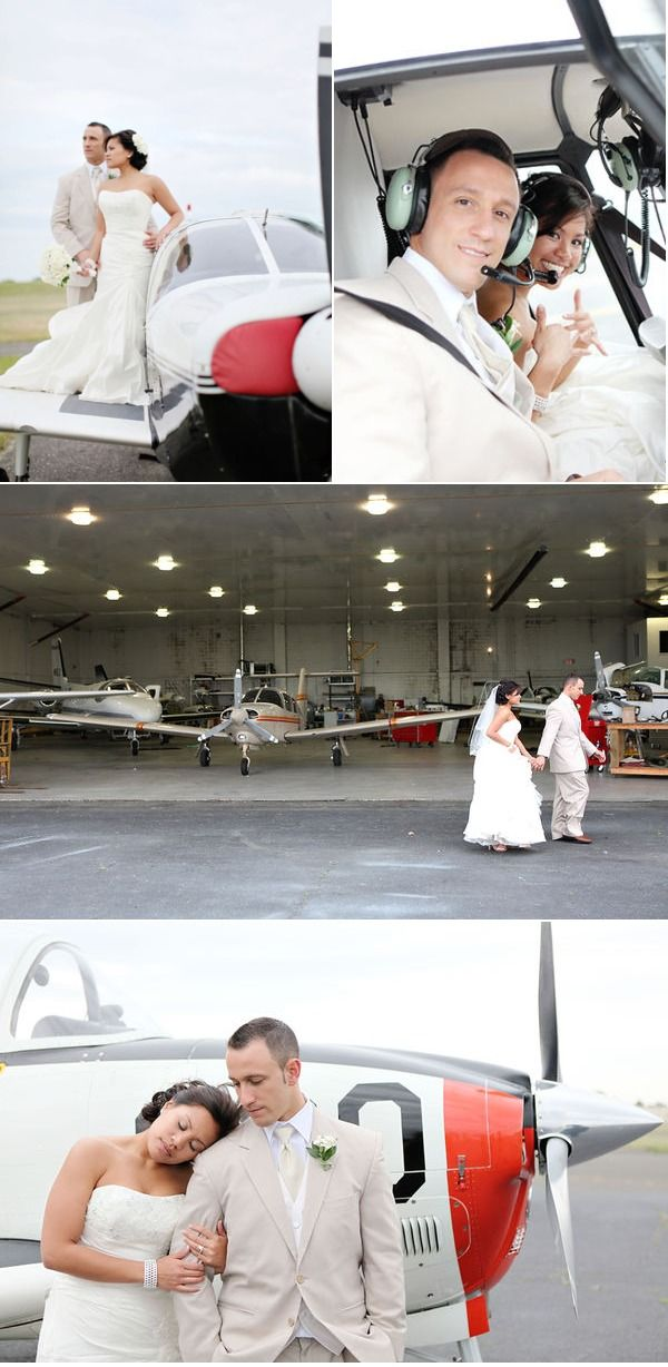Wedding photo shoot at an airport, love this idea!