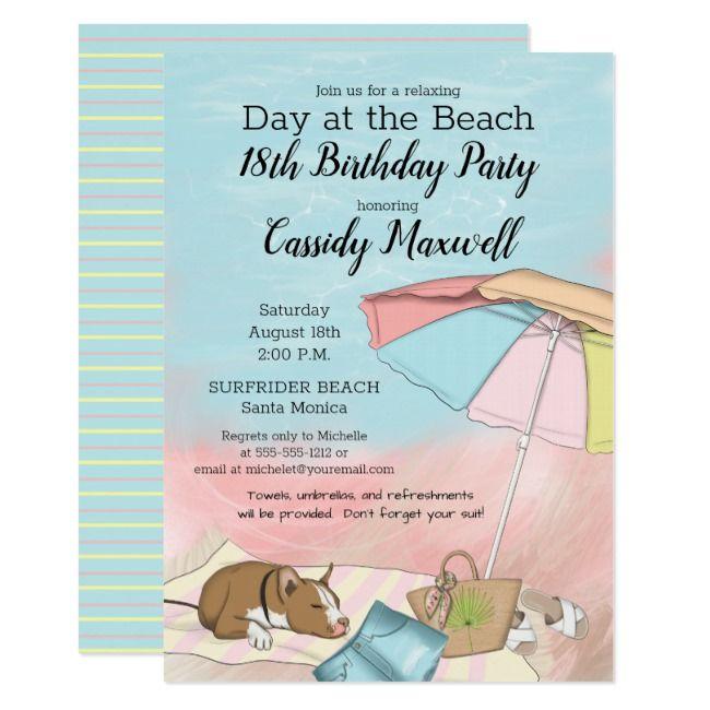 Summer Day At The Beach 18th Birthday Party Invitation Zazzle