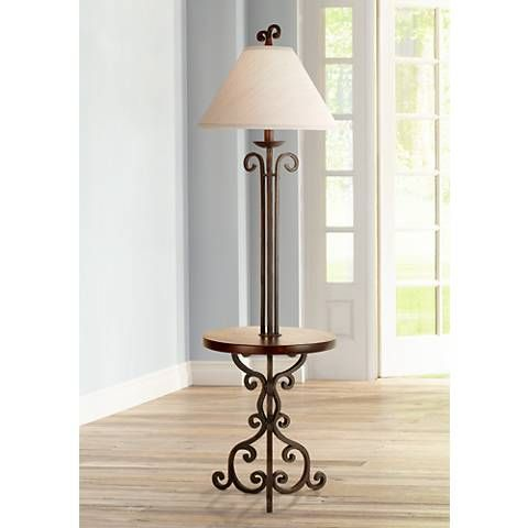 Iron Scroll Wooden Tray Floor Lamp