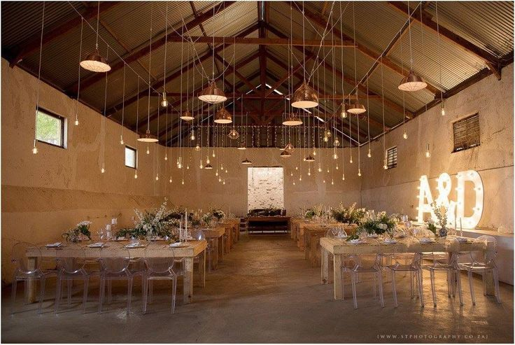 How beautiful is this wedding we did at the Dairy SHed | Raw Tables, Naked Bulbs, Ghost Chairs & Copper Lampshades