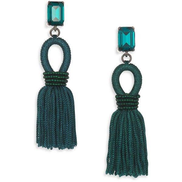 Oscar de la Renta Silk & Crystal Tassel Clip-On Drop Earrings (570 AUD) ❤ liked on Polyvore featuring jewelry, earrings, apparel & accessories, green, crystal earrings, oscar de la renta, crystal jewelry, green crystal earrings and oscar de la renta jewelry
