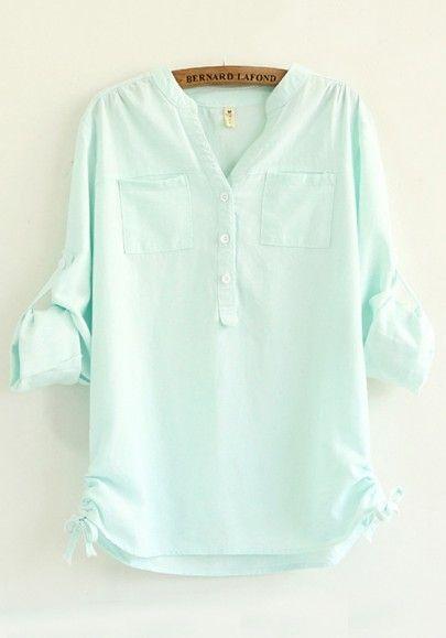 Blue Plain Drawstring Long Sleeve Blouse - £13.00